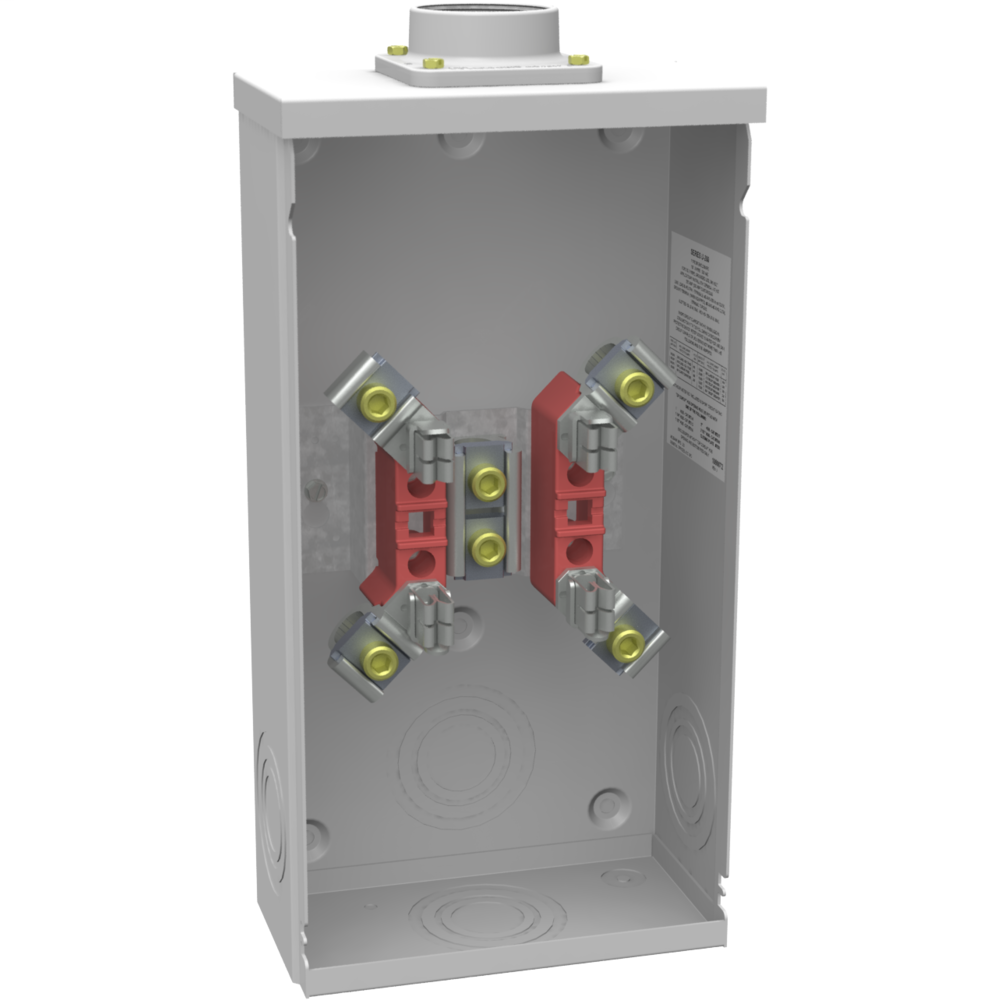 Milbank U4517-DL-M4 600 VAC 200 Amp 4-Terminal 1-Phase 1-Position Ring Type Overhead Meter Socket