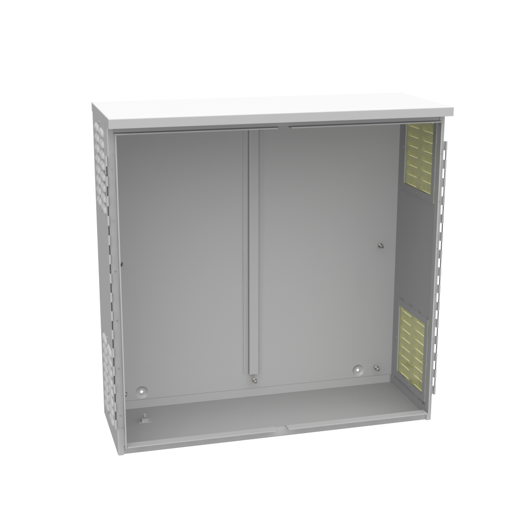 MILBANK 36x12x36 Hinge Cover Type 3R UL Listed Aluminum No Knockouts No Paint Padlocking 3 Point Handle Louvers Both Sides