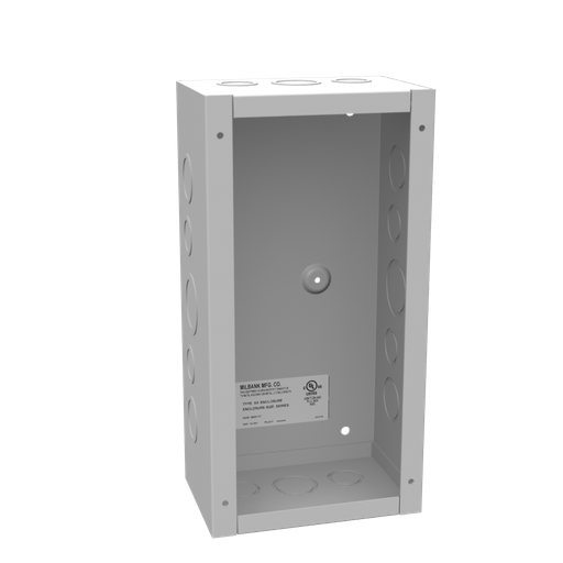 12x4X6 Screw Cover Type 1 UL Listed Steel Knockouts ANSI 61 Gray Cover With Teardrop Slots Mounting Holes In Back