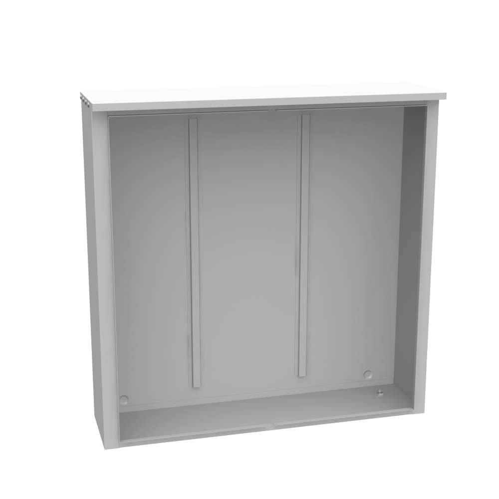 MILBANK 48x12x48 Hinge Cover Type 3R UL Listed Steel No Knockouts ANSI 61 Gray Back Stiffeners Continuous Hinge Double Doors Handle On Left Padlocking 3 Point Handle Drip Shield