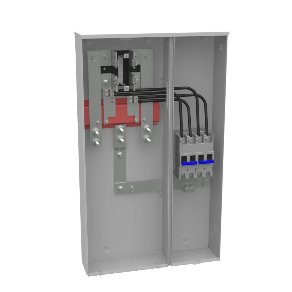 Milbank U3251-O-200-CB 240 VAC 320 Amp 4-Terminal 1-Phase 1-Position Ring Type Underground Side Wireway Meter Socket