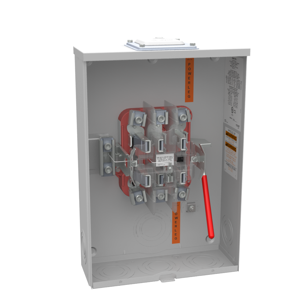 Milbank U9701-RXL 600 VAC 200 Amp 7-Terminal 3-Phase 1-Position Ringless Overhead/Underground Meter Socket