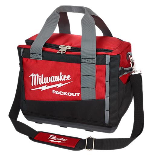 Milwaukee® PACKOUT™ 48-22-8321 Zipper Tool Bag, 1680D Ballistic Nylon, Black/Red