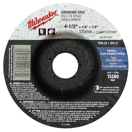 """Type 27 Cut-Off Wheels, 4-1/2"""", 7/8"""" Arbor Size, A60T, Metal/Stainless Grinding, 25 Pack"""