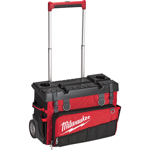 Milwaukee® 48-22-8220 General Purpose Hardtop Rolling Bag, 1680 Denier Ballistic Polyester, Black/Red