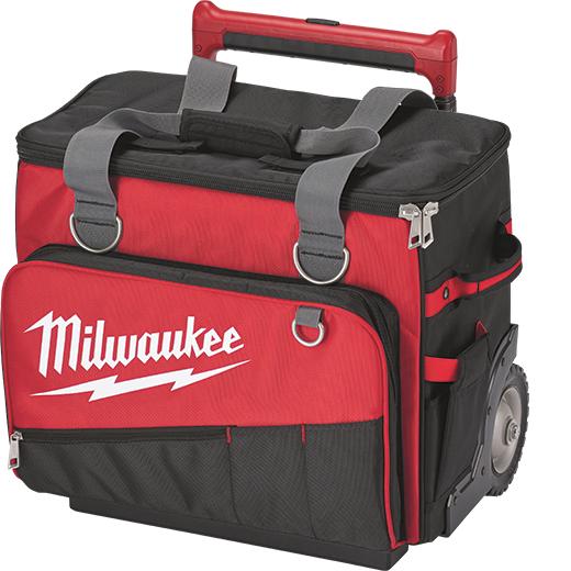 Milwaukee® 48-22-8221 General Purpose Jobsite Rolling Bag, 1680 Denier Ballistic Polyester, Black/Red