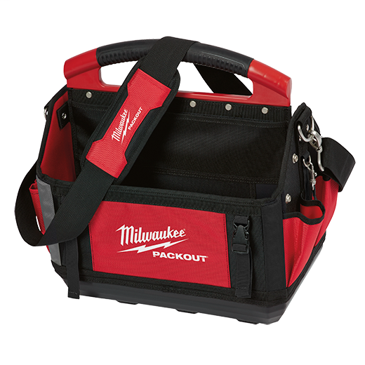 Milwaukee® PACKOUT™ 48-22-8315 General Purpose Open Tool Tote, 1680D Ballistic Nylon, Black/Red