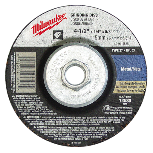 "Type 27 Grinding Wheels, 4-1/2"", 7/8"" Arbor Size, A30S, Pipeline - Light Grind/Cutting, 10 Pack"