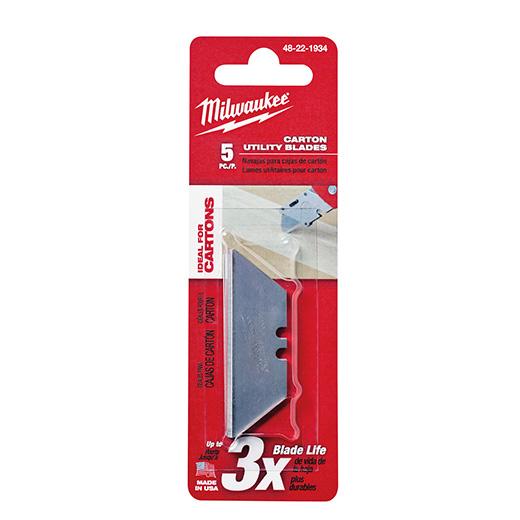 MILWAUKEE 5 PC Carton Utility Knife Blades