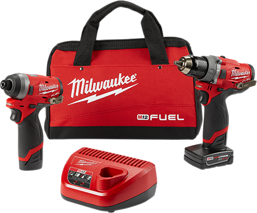MILW 2598-22 M12 FUEL 2-TOOL COMBO KIT 1/2 IN HAMMER DRILL AND 1/4 IN HEX IMPACT DRIVER