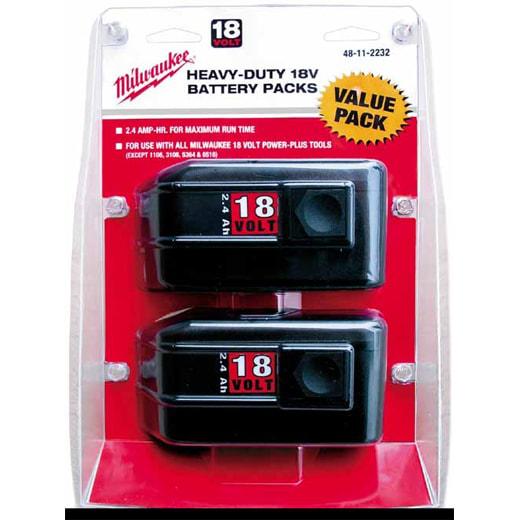 Milwaukee Tool 48-11-2232 18 Volt 2.4 Ah Heavy Duty Nickel Cadmium Battery Pack