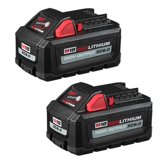 Milwaukee 48-11-1862 M18™ REDLITHIUM™ HIGH OUTPUT™ XC 6.0Ah Battery Pack (2 Piece)