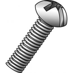 Minerallac 52232J #6-32 x 2 Inch Zinc Plated Steel Combination Slotted/Phillips Drive Round Head Machine Screw