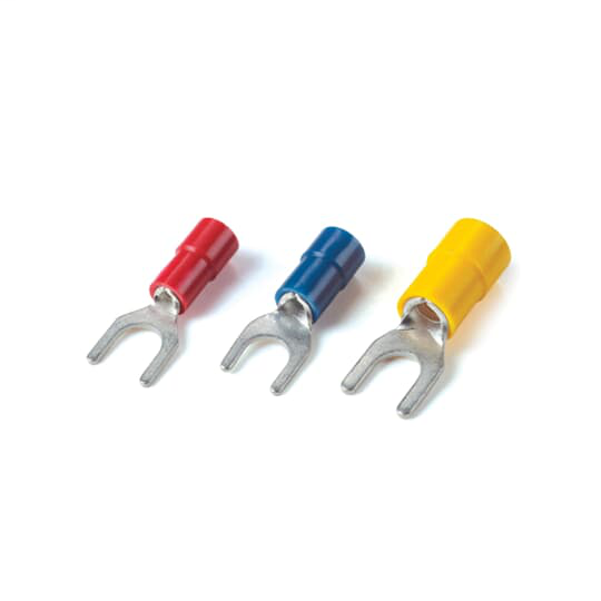 Catamount TV10-10F-XV 12 to 10 AWG #10 Stud Yellow Electrotinned Copper Vinyl Insulated Fork Terminal