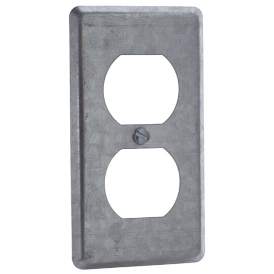 Steel City 58-C-7 4 x 2-1/8 Inch Steel Duplex Receptacle Raised Utility Box Cover