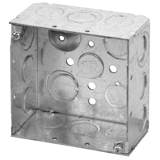 """Steel City 52171-1/2-3/4-E 4"""" Steel Square Box, 2-1/8"""" Deep, 30.3 cu.in. w/ 1/2"""" & 3/4"""" Eccentric KOs and Ground Bump"""