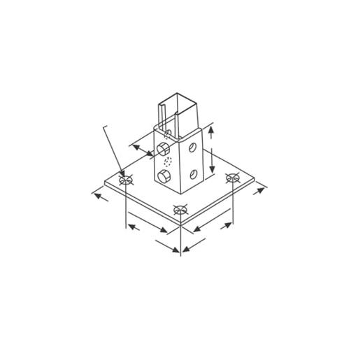 SQ POST BASE HT3-1/2 W3-5/16 STL