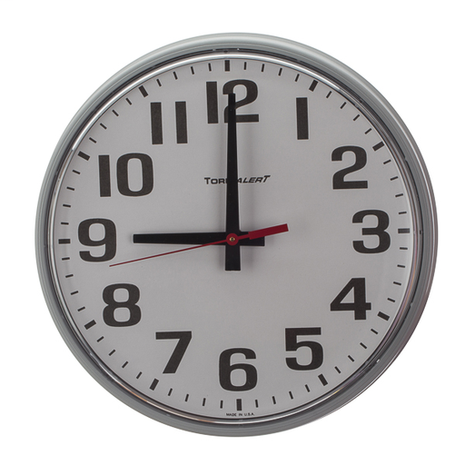 TORK TA1887G QTZ 12IN GY WALL CLOCK