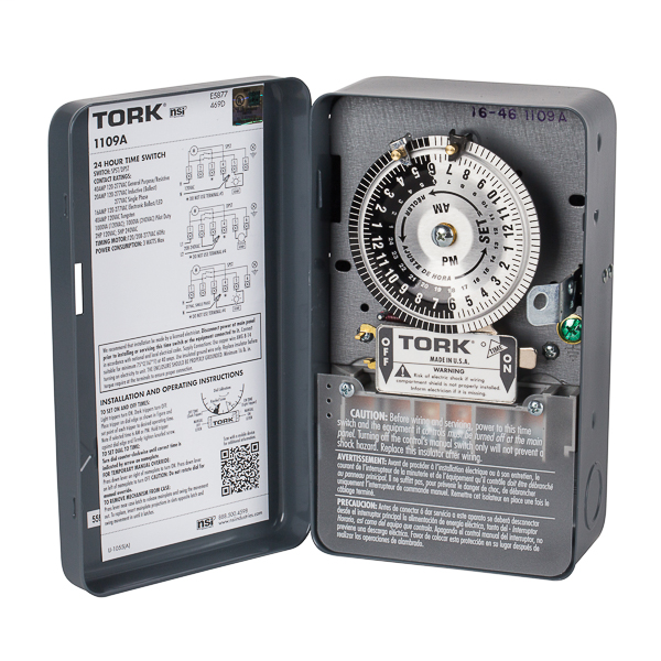 TORK 1109A 24 HOUR TIME SWITCH 120-277V SPST INDOOR