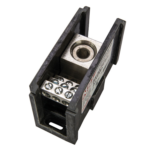 NSI AM-R1-H12 4 AWG to 500 MCM Line 14 to 4 AWG Load 13-Terminal Black Aluminum Single Primary Power Distribution Block
