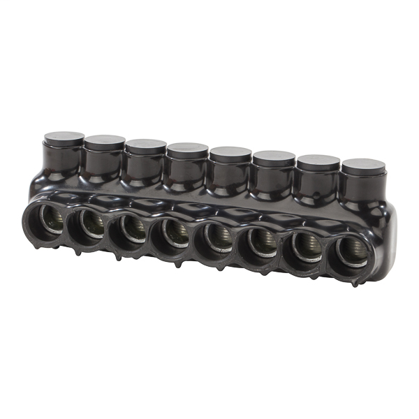 NSI IPLD250-8 6 AWG to 250 MCM Black Plastisol 8-Port 2-Side Entry Insulated Multi-Cable Connector Block