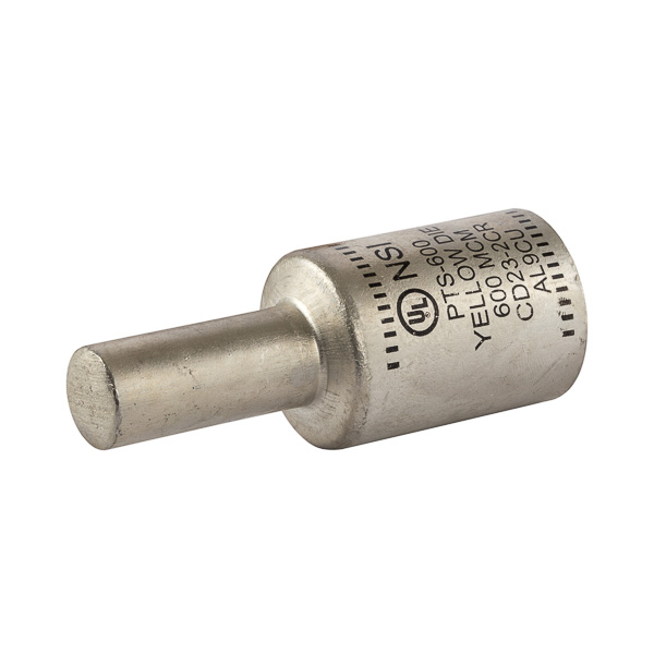 NSI PTS600 600 MCM Yellow Tinned Aluminum 1-Conductor Solid Pin Terminal