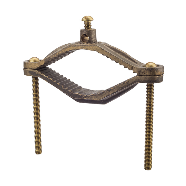 NSI G-4-S BS 2-1/2 to 4 Inch 2 AWG Bronze Grounding Clamp with Adapter and Brass Screw