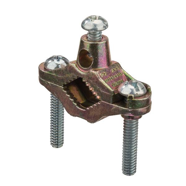 "Mayer-Ground Clamp Zinc 1/2-1"" Brass Plated-1"