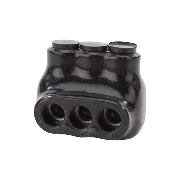 NSI IPL4-3 4 to 14 AWG Black Plastisol 3-Port 1-Side Entry Insulated Multi-Cable Connector Block