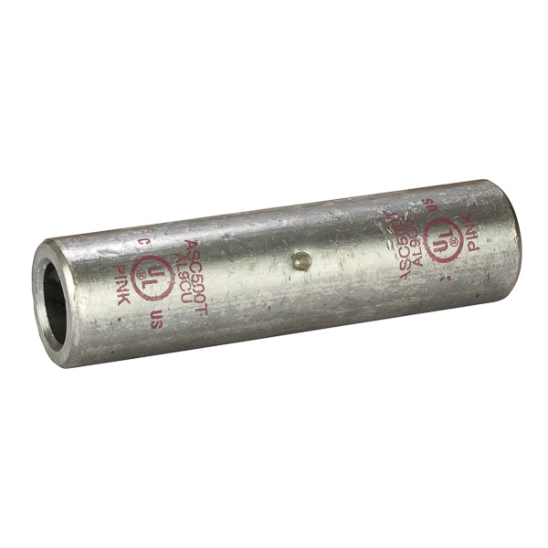 NSI ASC500T 500 MCM Pink Tinned Aluminum Standard Barrel 2-Conductor Dual Rated Compression Splice
