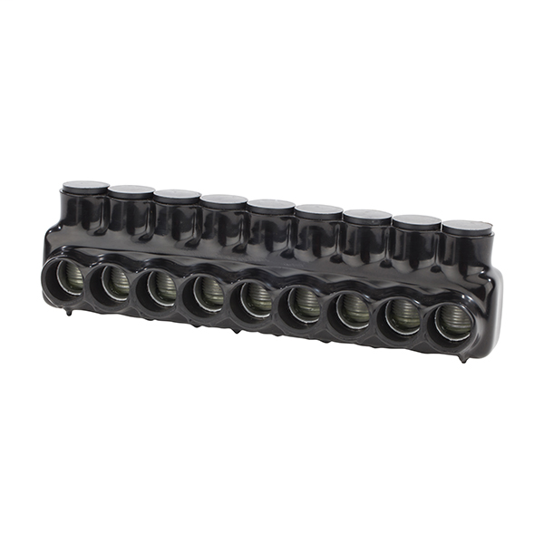 NSI IPLD750-9 250 to 750 MCM Black Plastisol 9-Port 2-Side Entry Insulated Multi-Cable Connector Block
