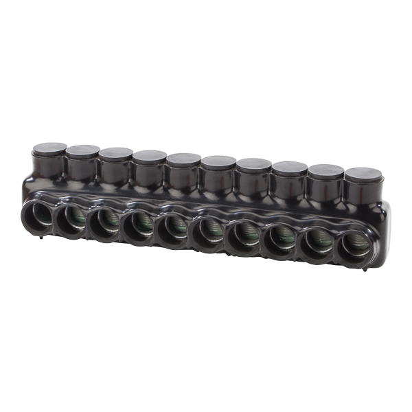 NSI IPLD500-10 4 AWG to 500 MCM Black Plastisol 9-Port 2-Side Entry Insulated Multi-Cable Connector Block