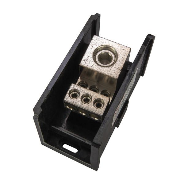 NSI AL-V1-K6 250 to 1000 MCM Line 14 to 2/0 AWG Load 7-Terminal Black Aluminum Single Primary Power Distribution Block