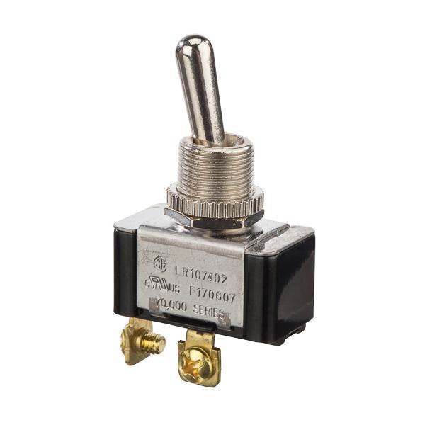 NSI 78170TS 15 Amp at 125 VAC 10 Amp at 250 VAC Brass/Nickel On-Off SPST Momentary Bat Toggle Switch