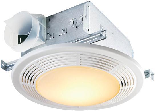 100 CFM Fan/Light with Glass Lens and White Polymeric Grille; 100-watt Incandescent Lighting and 7-watt Nightlight