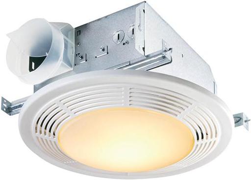 Mayer-100 CFM Fan/Light with Glass Lens and White Polymeric Grille; 100-watt Incandescent Lighting and 7-watt Nightlight-1