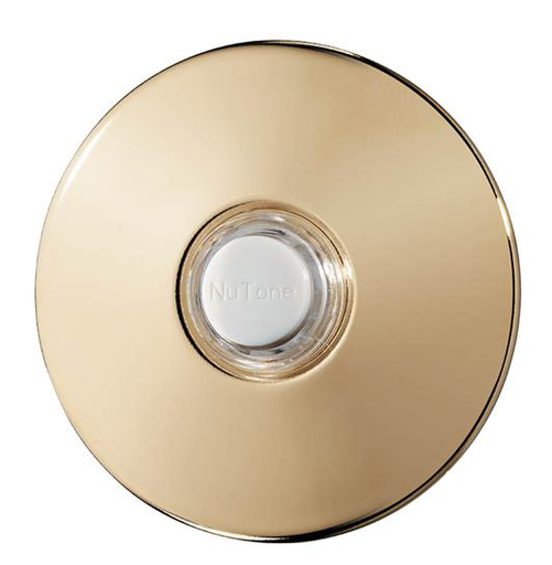 "Lighted Round Stucco Pushbutton, 2-1/2"" diameter in Polished Brass"