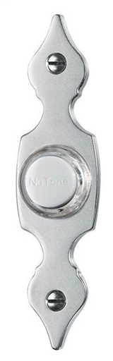 Lighted Flat Pushbutton, 7/8w x 3-9/16h in Satin Nickel