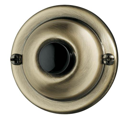 NUTO PB67AB PUSHBUTTON, UNLIGHTED IN ANTIQUE BRASS