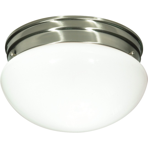 "2-Lights 10"" Close-To-Ceiling Flush Mount Ceiling Light with Medium White Mushroom Glass"