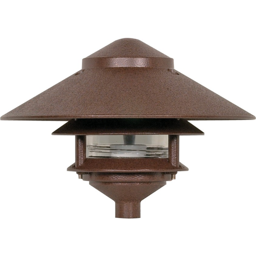 NUVO 76-635 TWO TIER PATH LIGHT W/ OLD BRONZE FINISH AND LARGE HOOD