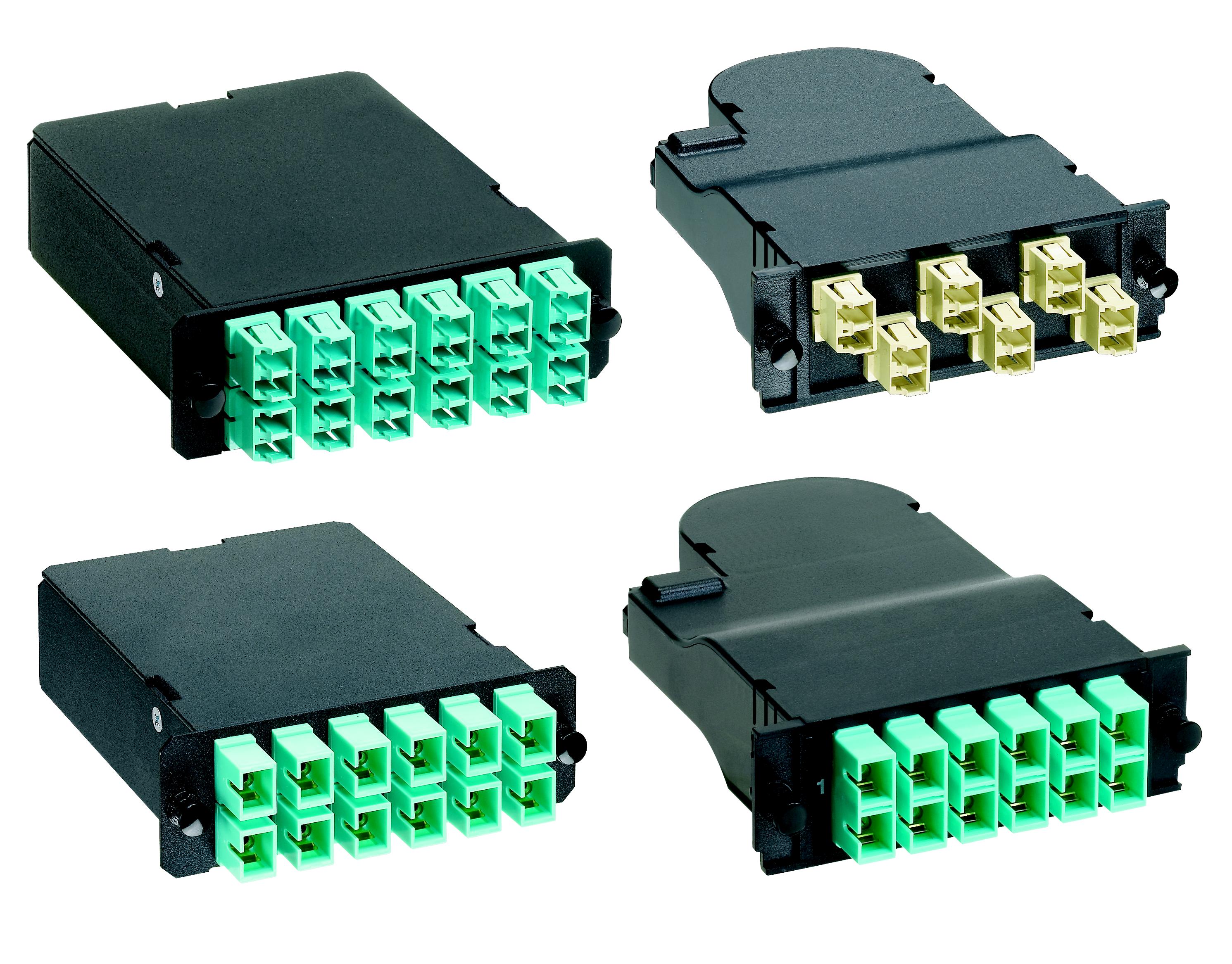 Mayer-24-fiber cassette OS1/OS2 Singlemode twelve LC duplex adapters to two male 12-fiber pre-terminated MTP*connectors. Standard Method A.-1