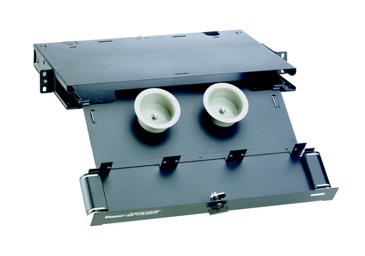 """Mayer-Holds up to three FAP or FMP adapter panels. Slide-out drawer provides front access to fibers. Dimensions: 1.74""""H x 17.16""""W x 11.80""""D (44.2mm x 435.9mm x 299.7mm)-1"""