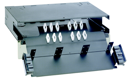"""Mayer-Holds up to six FAP or FMP adapter panels. Slide-out drawer provides front access to fibers. Dimensions: 3.45""""H x 17.16""""W x 11.80""""D (87.6mm x 433.3mm x 292.1mm)-1"""