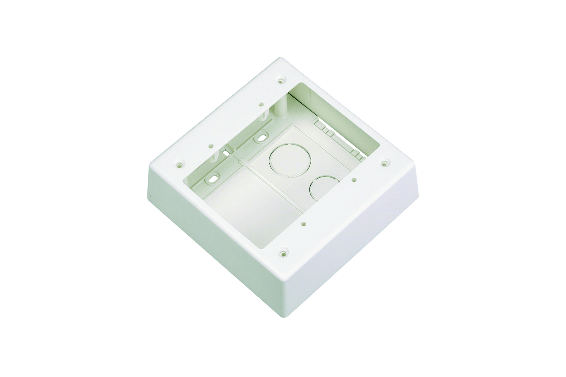 """Mayer-Double gang two-piece screw together outlet box. Box accepts Pan-Way® Screw-On Faceplates or any NEMA standard double gang faceplates. For use with Pan-Way® LD profile raceway. 5.05""""L x 5.05""""W x 1.62""""H (128.2mm x 128.2mm x 41.1mm). Breakouts for 1/2"""" or 3/4"""" diameter conduit.-1"""