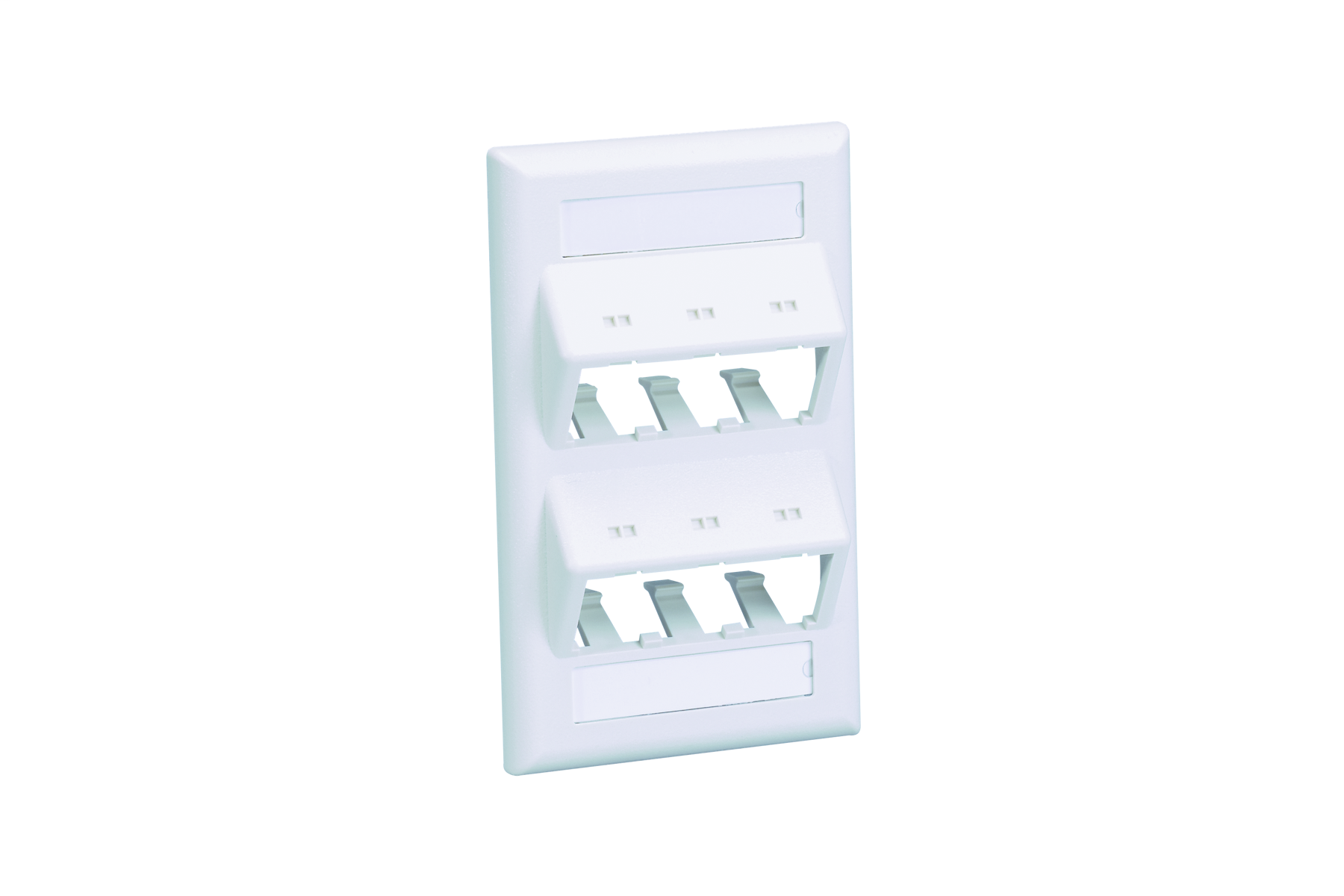 Mayer-Faceplate, 6 Port, Classic, Sloped, White-1