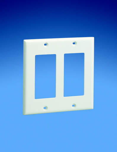 Mayer-Screw-on double gang rectangular faceplate. Covers two NEMA standard rectangular electrical outlets or two standard rectangular communication module frames.-1