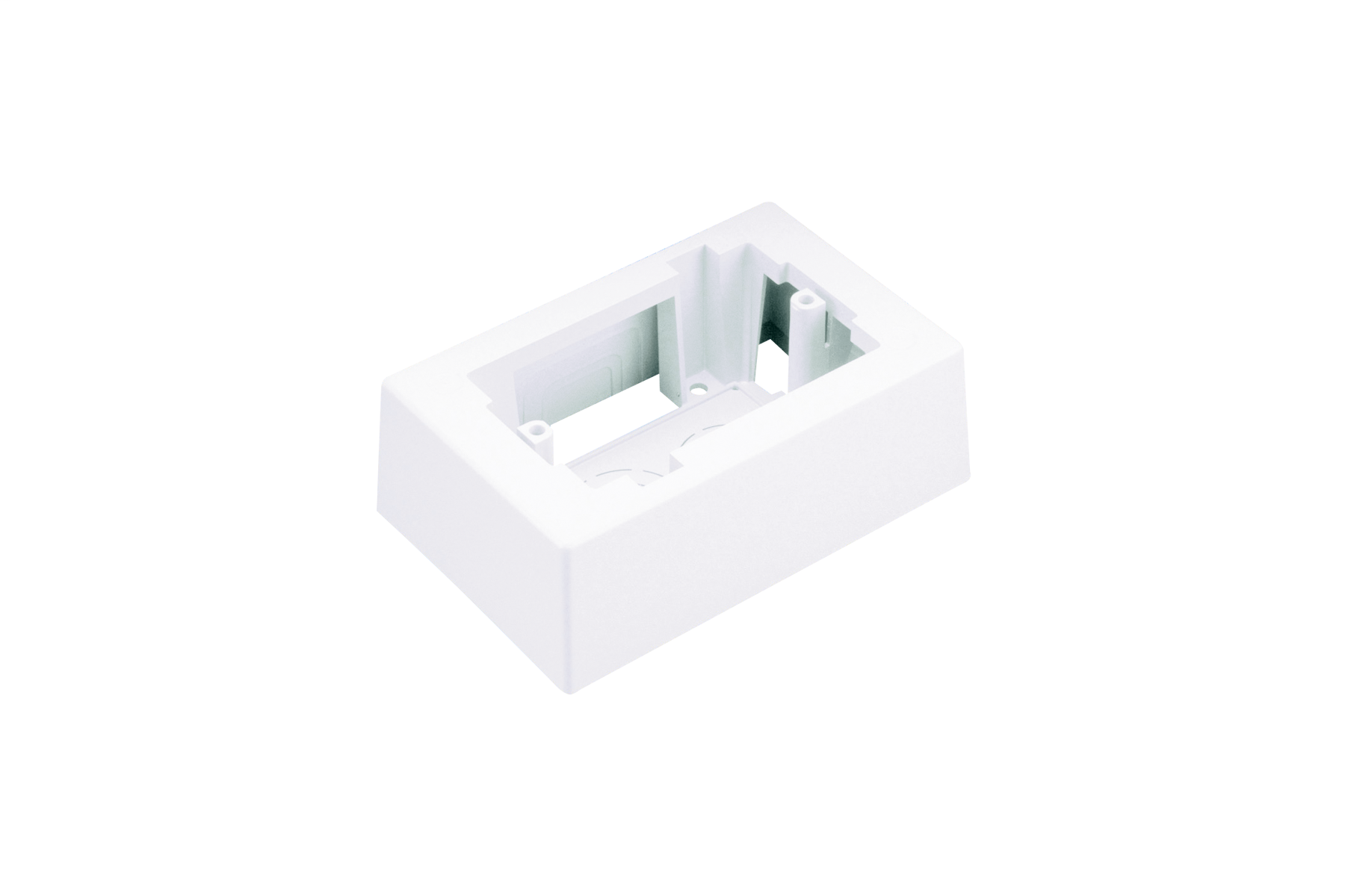 """Mayer-Single gang one-piece outlet box with adhesive backing. Box accepts Pan-Way® Screw-On Faceplates or any NEMA standard single gang faceplate. For use with Pan-Way® LD profile raceway. 5.09""""L x 3.34""""W x 1.75""""H (129.4mm x 85.0mm x 44.4mm). Breakouts for 1/2"""", 3/4"""", or 1"""" diameter conduit.-1"""
