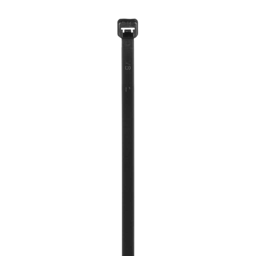 Cable Tie, 7.4 Inches (188 mm) Length, Standard Cross Section, Material Weather Resistant Nylon 6.6, Color Black, Style Locking, Minimum Loop Tensile Strength 50 Pounds, Width 0.190 Inch, Maximum Bundle Diameter 1.88 Inches, Minimum Bundle Diameter 0.06 Inch, Plenum Rating - No, Flammability Rating V-2