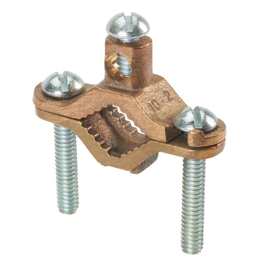 Bronze grounding clamp, No. 10 SOL to No. 2 STR AWG conductor size range, 1/2 inch - 1 inch (12.7 milimeters - 25.4 milimeters) iron pipe size, 1.65 inches (41.9 milimeters) pipe clamp screw length.